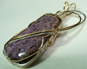 Russian Purple CHAROITE Stone in HANDMADE Pendant with STERLING and 14Kgf
