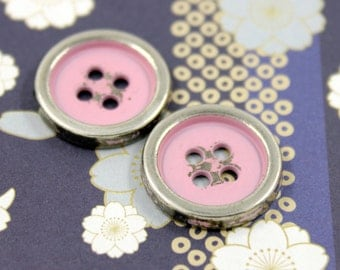Metal Buttons - Light Pink Painting Metal Buttons , Silver Color , 4 Holes , 0.67 inch , 10 pcs