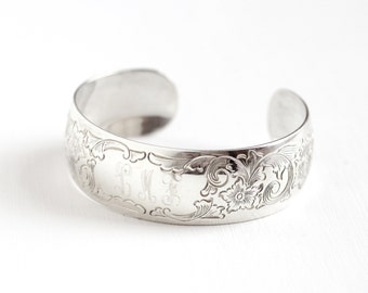 Sale - Vintage Sterling Silver Chased Flower Initial LMF Cuff Bracelet - Floral Foliage Vine Bangle Monogrammed Letter Jewelry S. Kirk & Son