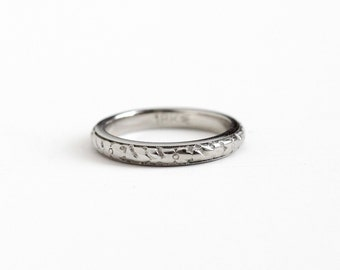 Sale - Antique Art Deco 18k White Gold Orange Blossom Flower Ring - Vintage 1920s Size 5 Eternity Wedding Band Fine Bridal Wood Jewelry