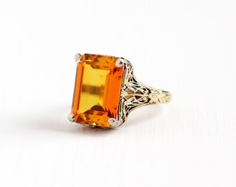 Sale - Vintage 10k Yellow Gold Created Orange Sapphire Ring - Size 7 Art Deco 1930s Emerald Cut Stone Flower Filigree Statement Fine Jewelry