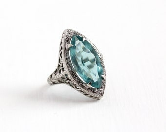 Vintage 14k White Gold Filigree Simulated Blue Topaz Ring - Antique Size 6 3/4 Art Deco 1920s Blue Glass Marquise Stone Fine Jewelry