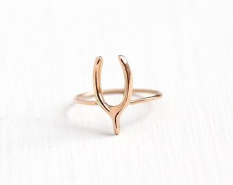 Sale - Antique 10k Rose Gold Wishbone Ring - Size 5 Vintage Early 1900s Edwardian Stick Pin Conversion Good Luck Fine Simplistic Jewelry
