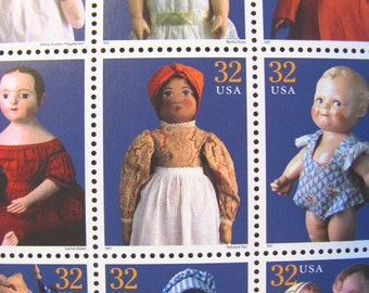 American Dolls Full Sheet of 15 UNused Vintage US Postage Stamps 32c 90s Baby Shower It's a Girl Save the Date Wedding Postage Birthday Girl