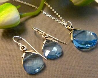 Aquamarine  Crystal Necklace - March Birthstone Necklace - Birthstone Jewelry - March Birthday Gift - Aquamarine Jewelry - March Aquamarine