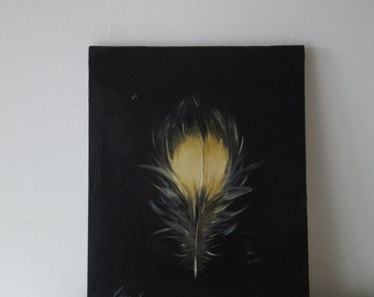 Saw-Whet Owl Feather Original Oil on Canvas 9.2 x 12 inch