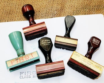 5 Vintage Hand Stamps, Rubber Hand Stamps