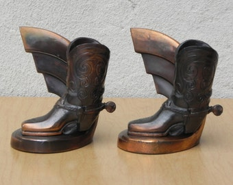 Brass Cowboy Boot Bookends by Trophy Craft