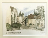 3 Framed French Miniature Watercolor Prints of Château De Châteauneuf France