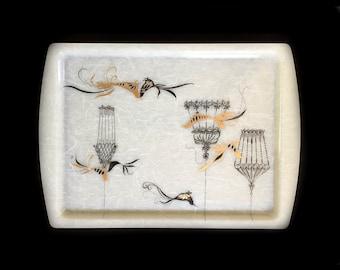 PAIR 1950s Mid Century Modern Fiberglass Tray Birds and Birdcages Black and Metallic Gold