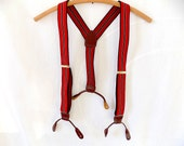 Vintage Mens Suspenders Braces with Leather & Red White Blue Elastics