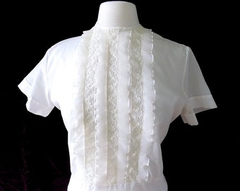 Debcraft 1950s Blouse with Crystal Pleats & Lace in White 36