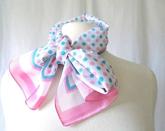 Vintage Scarf Morsly Made in Italy Long in Pink and Blue Green on White