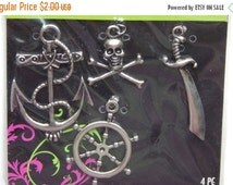 CLEARANCE 4 Pieces of Metal Jewelry Charms - Pirates, Nautical, Assorted Sizes, Different Pieces, Nicely Detailed, Silver Color, Base Metal,