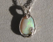 Opal and Silver Pendant - Australian Opal in Sterling Silver Leaf Design