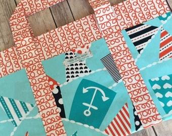 Six Pocket Tote Bag in Mutiniy on the Bunting Designer Print