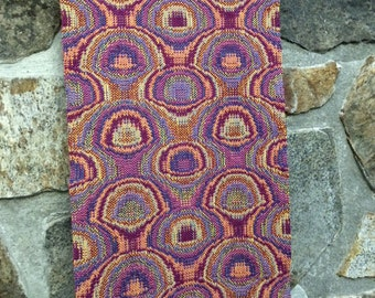 Psychedelic Mushrooms: Art Deco Home Textile, Woven Wall Hanging Tapestry, Handwoven Table Runner, Gypsy Wedding Gift, Coral