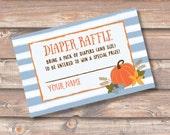 Baby Boy Pumpkin Fall Baby Shower Diaper Raffle Ticket Blue Diaper Shower Twin Autumn Harvest Watercolor Blue Diaper Raffle INSTANT DOWNLOAD