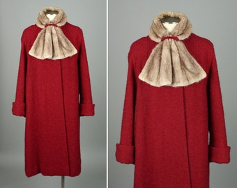 1950s red swing coat • FUR COLLAR boucle wool Rothmoor