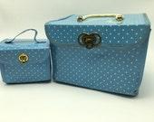 Vintage Square Blue Polka Dot Childrens Luggage Set 2 piece