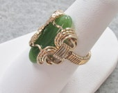 Nephrite Jade and Gold filled Wire Ring