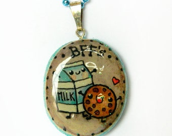 Best Friends Necklace, Kawaii Milk and Cookie Charm, BFF's, Best Friends Brooch, Handmade Jewelry, Boutique Jewelry
