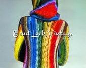Vintage Rainbow Stripe Hooded Coat Boho Crochet Pattern Boho Digital Download PDF
