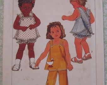 Easy to Sew Toddler Girls Lined Sundress, Panties and Pull-on Pants Sizes 1/2 and 1 Vintage 1980's Simplicity Pattern 6775 UNCUT