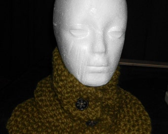 Handmade Chunky  Knit Neck Cowl Neckwarmer with 3 Wood Buttons