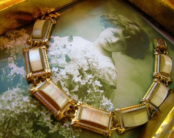 Beautiful Art Deco Demascene Bracelet Gold/Black Metal Framed MOP Type Stones Panels