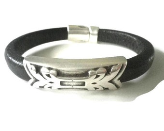 Black Leather Bracelet with Silver Tone Slider and Magnetic Clasp