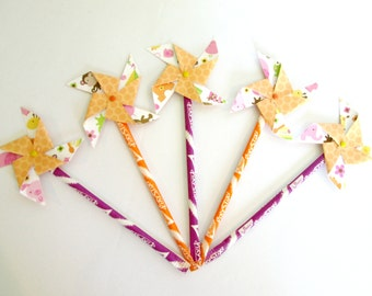 Cupcake Toppers Paper Pinwheels Birthday Party Decorations Baby Shower Favors Pixy Stixs Favors Edible Favors 1st Birthday Decoration