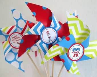 Dr Seuss Pinwheels Set of 8 Large Twirling Pinwheels for a Dr. Seuss Party Dr Seuss Party Favors Dr Seuss Decoration Table Centerpiece