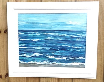 Choppy Ocean Original Acrylic Framed Painting