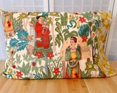 Frida Kahlo Pillowcases, full queen pillow covers, bedding, Frida's garden cotton pillow, Frida pillow cases, colorful artist eclectic