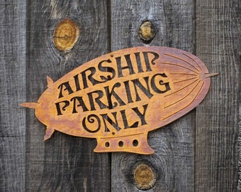 Airship Parking Only Steel Wall Mount Sign