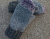 Wool Sweater Mittens Womens Recycled Sweater Mittens Gray
