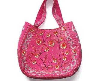 Vintage  Big Pink Purse/Horseshoe/Sequined/Embroidered/ Vintage Vietnam