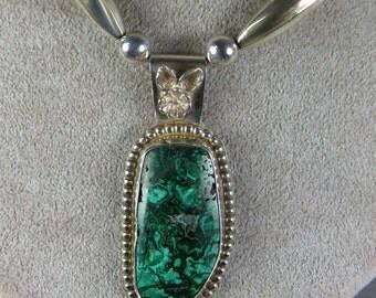 Malachite Plume Sterling Silver Necklace pendant hand cut stone handmade