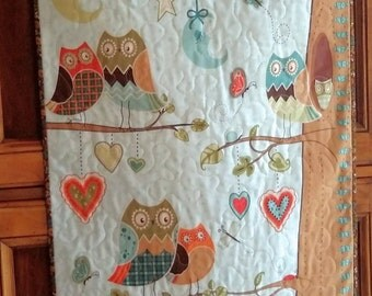 Childrens Growth Chart, Owl Quilt, Growth Chart Wallhanging,  Owl Wallhanging, Nursery Art, Nursery Decor, New Baby Gift, Quiltsy Handmade