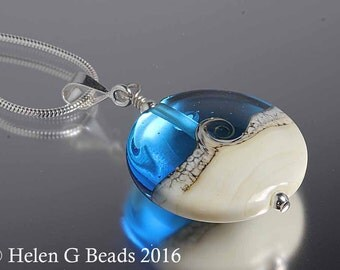 Sterling silver and lampwork bead pendant in turquoise by Helen Gorick