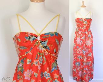 Maxi Dress / Vintage Sun Dress / Orange Zest / Bandeau Halter Dress / Boho Hippie Festival Garden Party Frock