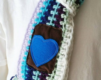 Kids Scarf, Crochet Scarf, Heart Scarf, Childs Scarf, Multicolor Scarf