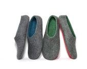 Mens Wool Shoes - Rubber Soles - Color Blocking - Minimalist Shoes - Mens Shoes -Autumn Gifts Men Slipper - Fathers Day Gift - Gift for Dad