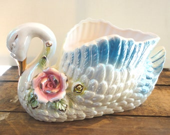 Large Vintage Ceramic Swan Planter Detailed with Lovely Flowes Gold Accents and an Iridescent or Luster Coated Glaze