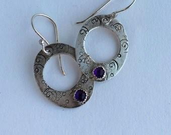 Patterned Sterling Silver Hoop Earrings with Amethyst