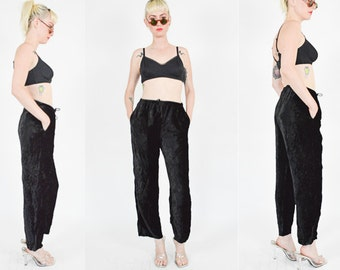 Reserved - 1990's BLACK Crushed VELVET  High Rise PANTS size - Xs/Small. Wide Leg Pants. 90's Grunge Minimalist Goth