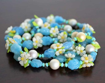 NECKLACE - LONG - BLUE - flowers - pearls