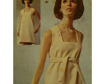 """60s Designer Mini-Dress Pattern, Lined, Square Neck, Sleeveless, Empire Tie, Straight Cut, Jacques Tiffeau, McCalls 1033 Size 10 Bust 32.5"""""""
