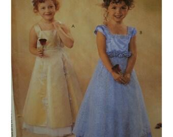 Flower Girl Dress Pattern, High Waist, Square Neck, Sleeveless/Cap Sleeves, Net/organza Overlay Skirt, McCalls No. 3877 UNCUT Size 3 4 5 6